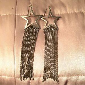 Long Dangle Star Earrings